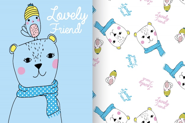 Hand drawn cute bear & bird with pattern vector set