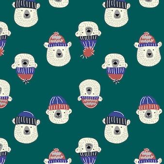 Hand drawn cute bear pattern background