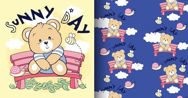 Hand drawn cute bear pattern and card