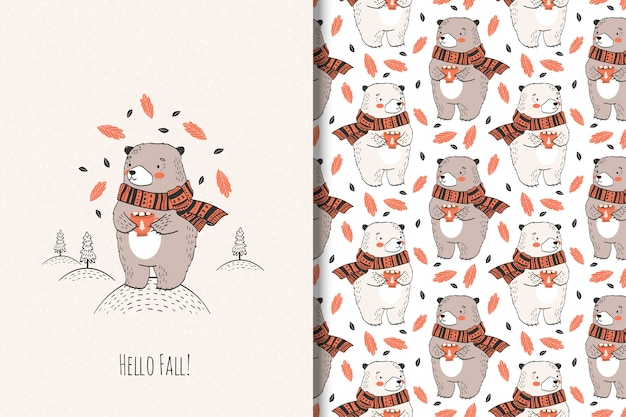Hand drawn cute bear with cup. autumn animal illustration.