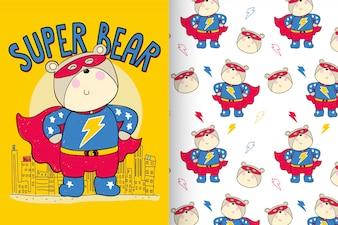 Ручной обращается милый медведь с рисунком