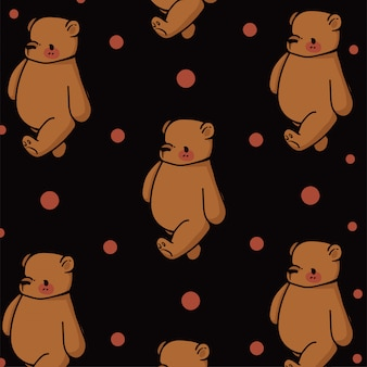 手描きのパターンでかわいいクマ