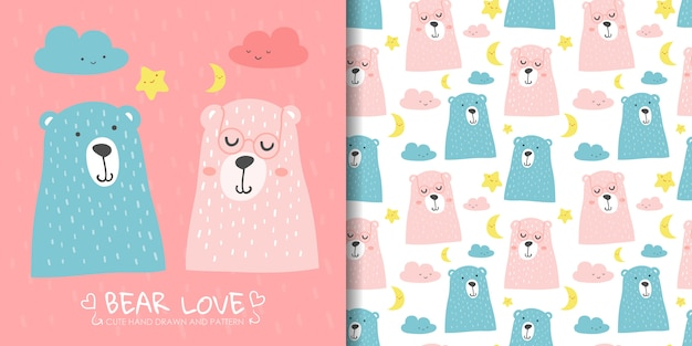 Hand drawn cute bear with seamless pattern