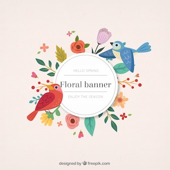 Hand drawn cute birds with floral banner