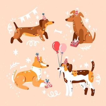 Hand drawn cute birthday collection