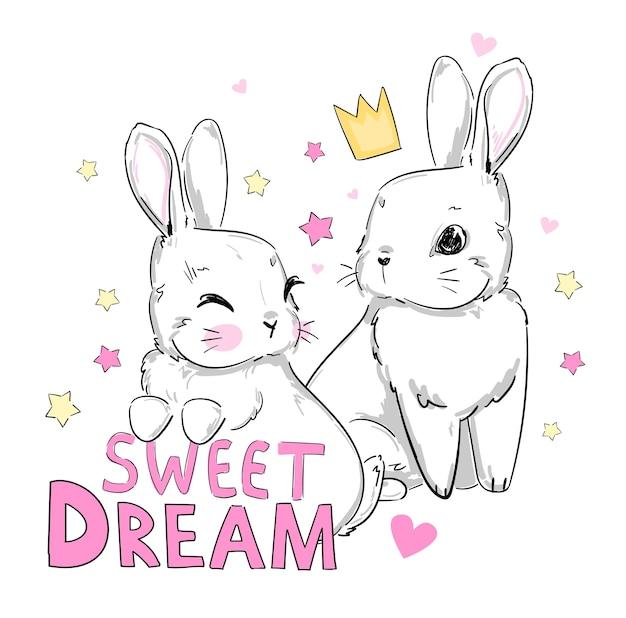 Нарисованные от руки милые кролики в короне и рукописная фраза сладкого сна, детская иллюстрация