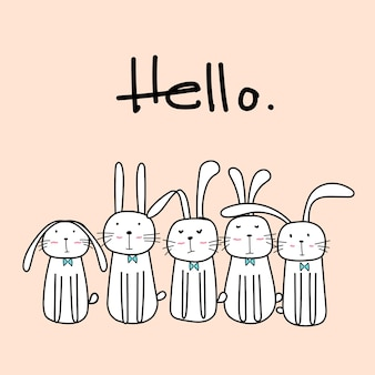 Hand drawn cute bunnies with say hello