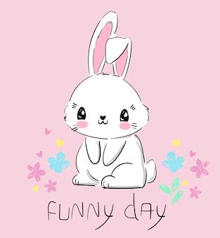 Ручной обращается милый кролик и цветы на розовом фоне. полиграфический кролик. детская печать на футболке. забавный день письма векторные иллюстрации