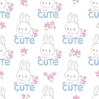 손으로 그린 귀여운 토끼와 핑크 꽃 원활한 패턴 인쇄 디자인 티셔츠에