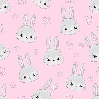 손으로 그린 된 귀여운 토끼와 핑크 꽃 원활한 패턴