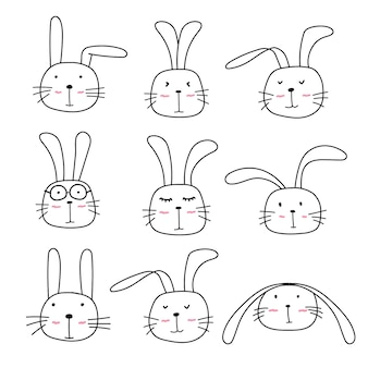 Hand drawn cute bunny characters set