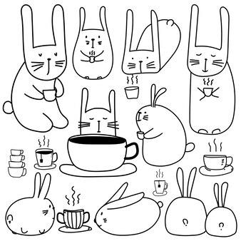 커피 세트와 함께 손으로 그린 귀여운 토끼 캐릭터