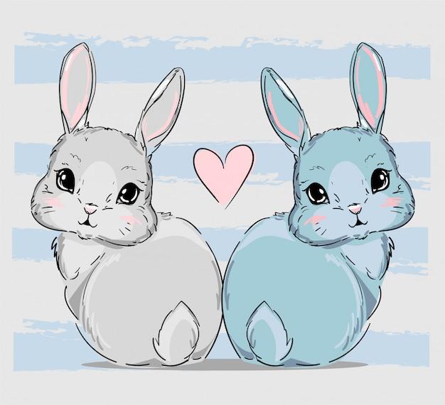Рисованная пара милых зайчиков, рисунок с рисунком кроликов и розовое сердце, детский принт на футболке.