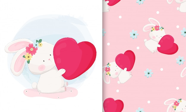 Hand drawn cute bunny holding big heart with seamless pattern set