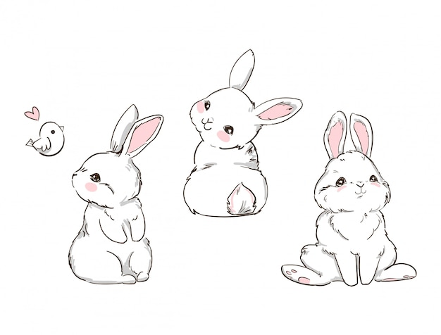 Ручной обращается милый зайчик, изолированные на белом фоне. полиграфический дизайн кролик. детский принт на футболке.