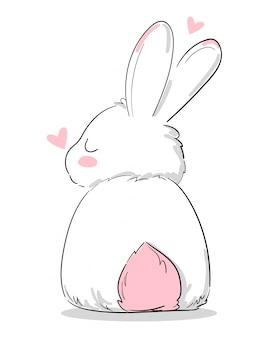 Симпатичный зайчик, нарисованный от руки, кролик с принтом