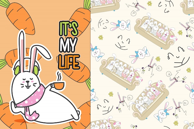 Hand drawn cute bunny with pattern vector set