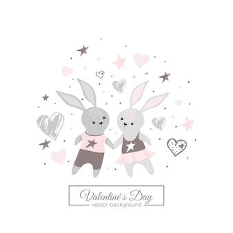 手描きのかわいいウサギ