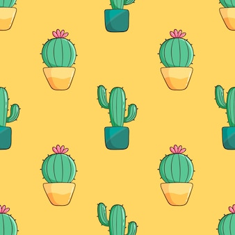 Hand drawn cute cactus seamless pattern