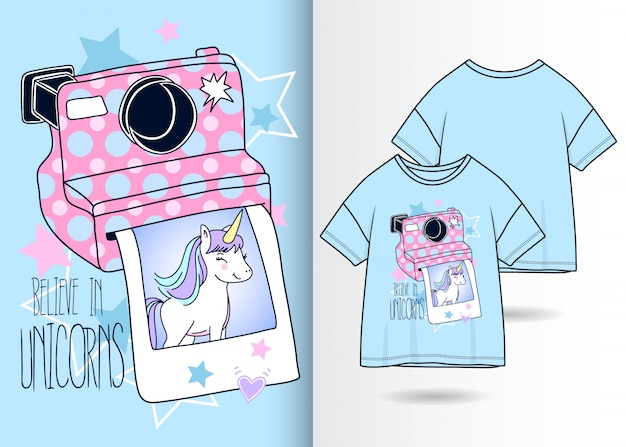 Hand drawn cute camera with unicorn