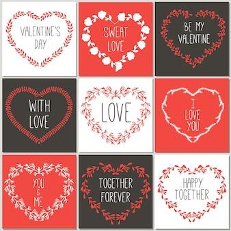 손으로 그린 사랑 디자인 귀여운 카드.