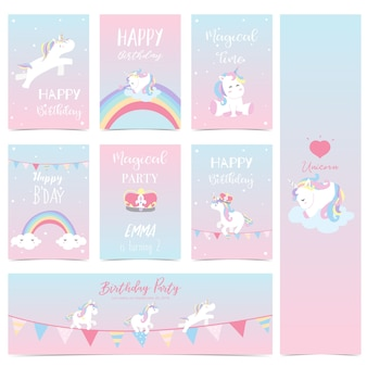 Hand drawn cute card with unicorn