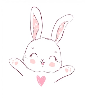 Hand drawn cute cartoon bunny.