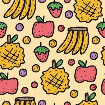 손으로 그린 귀여운 만화 과일 원활한 패턴