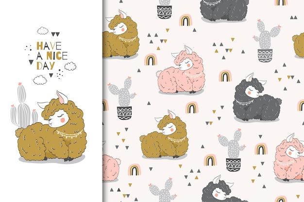 Hand drawn cute cartoon lama character card and seamless pattern set