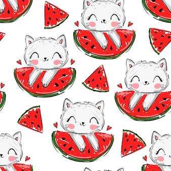 손으로 그린 귀여운 고양이와 수박 원활한 패턴 여름 어린이 인쇄 벡터 일러스트 레이 션, 스케치 새끼 고양이