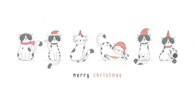 Нарисованная рукой иллюстрация баннера милого кота на рождество и новый год в стиле счастливого праздника