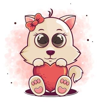 Ручной обращается милый кот мультфильм держит значок красного сердца