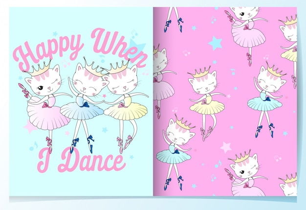 Hand drawn cute cat dancing seamless pattern