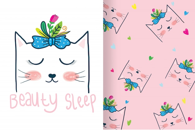 Hand drawn cute cat head with pattern