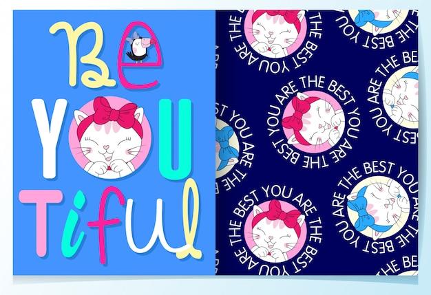 Hand drawn cute cat pattern set