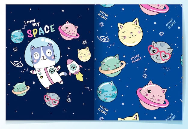 Hand drawn cute cat planet pattern set
