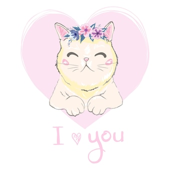 Hand drawn cute cat's face saying i love you