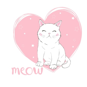 Hand drawn cute cat's face saying meow