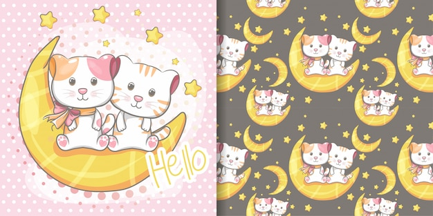 Hand drawn cute cat seamless pattern and illustration card