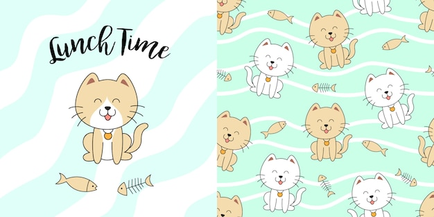 Hand drawn cute cat seamless pattern