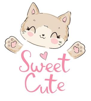 手描きのかわいい猫のスケッチイラスト、tシャツのデザインプリント。子猫。