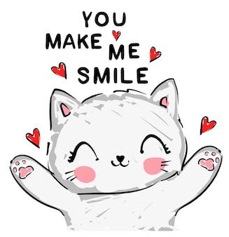 Ручной обращается милый кот эскиз иллюстрации вектор, полиграфический дизайн, детская печать на футболке, ты заставляешь меня улыбаться надписи