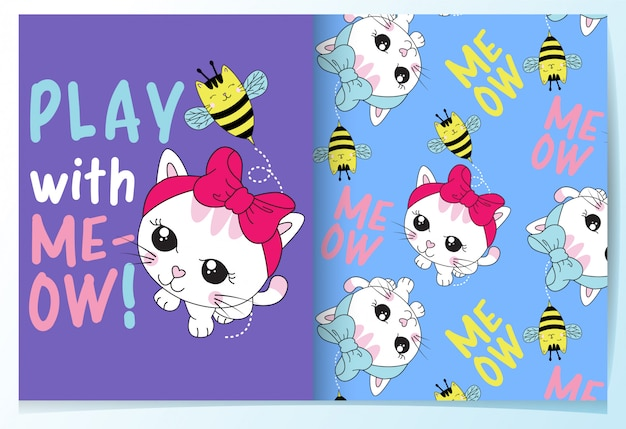 Hand drawn cute cat with bee pattern set