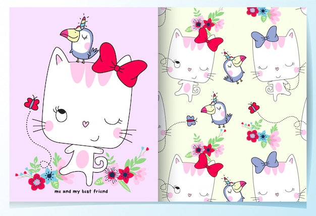 Hand drawn cute cat with bird pattern set
