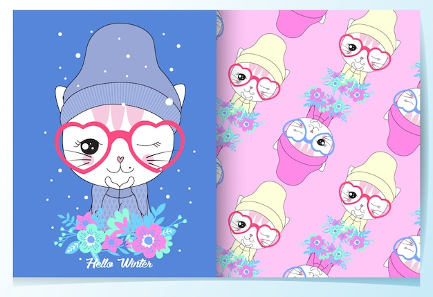 Hand drawn cute cat with flower pattern set