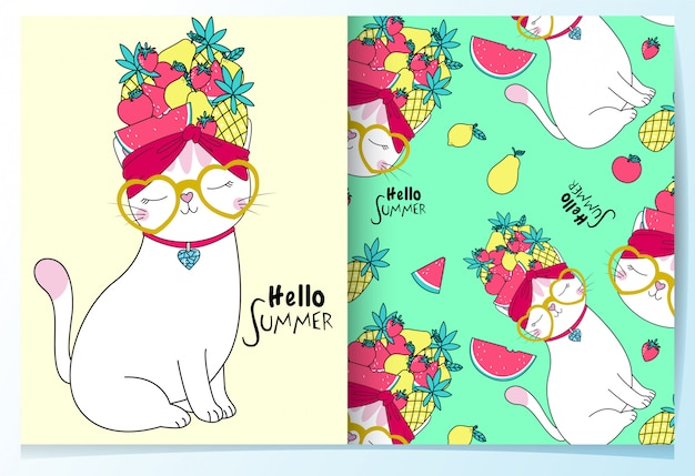 Hand drawn cute cat with fruits pattern set
