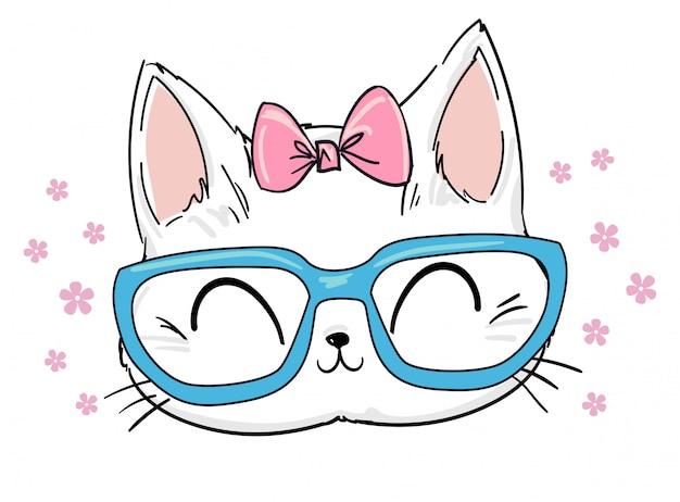 Hand drawn cute cat with glasses and bow sketch illustration, print design cat, children print on t-shirt.
