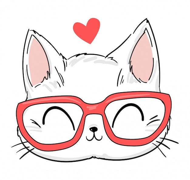 Рисованной милый кот с очками эскиз иллюстрации, принт дизайн кота, детская печать на футболке.