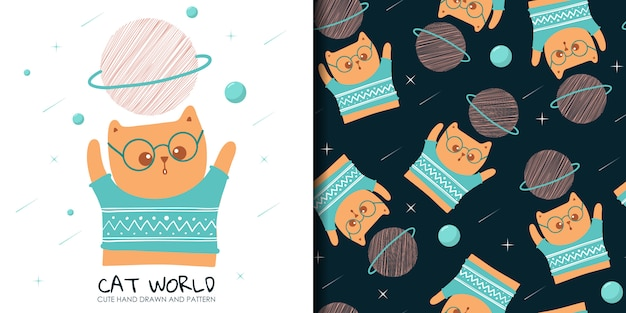Hand drawn cute cat with seamless pattern