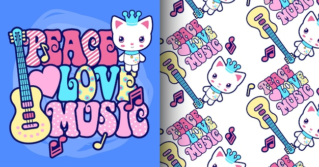 Hand drawn cute cat with typography pattern